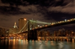 Yankees Prints - Brooklyn Bridge at Dusk Print by Shawn Everhart