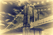 Antiquated Prints - Brooklyn Bridge at Night - Blue Daguerreotype Print by Alex AG