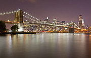Nightlights Framed Prints - Brooklyn Bridge at Night 1 Framed Print by Val Black Russian Tourchin