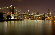 Black Russian Studio Framed Prints - Brooklyn Bridge at Night 10 Framed Print by Val Black Russian Tourchin