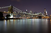 Nightlights Framed Prints - Brooklyn Bridge at Night 2 Framed Print by Val Black Russian Tourchin