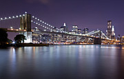Nightlights Framed Prints - Brooklyn Bridge at Night 3 Framed Print by Val Black Russian Tourchin
