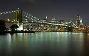 Nightlights Prints - Brooklyn Bridge at Night 4 Print by Val Black Russian Tourchin