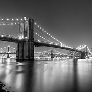 Black-and-white Posters - Brooklyn Bridge At Night Poster by Adam Garelick