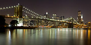 Nightlights Posters - Brooklyn Bridge at Night Panorama 1 Poster by Val Black Russian Tourchin
