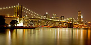 Nightlights Posters - Brooklyn Bridge at Night Panorama 10 Poster by Val Black Russian Tourchin