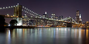 Nightlights Posters - Brooklyn Bridge at Night Panorama 2 Poster by Val Black Russian Tourchin