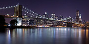 Nightlights Posters - Brooklyn Bridge at Night Panorama 3 Poster by Val Black Russian Tourchin