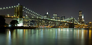 Nightlights Prints - Brooklyn Bridge at Night Panorama 4 Print by Val Black Russian Tourchin