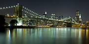 Nightlights Posters - Brooklyn Bridge at Night Panorama 6 Poster by Val Black Russian Tourchin