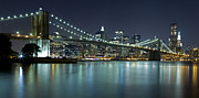 Nightlights Posters - Brooklyn Bridge at Night Panorama 8 Poster by Val Black Russian Tourchin