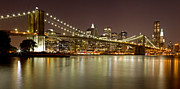 Nightlights Posters - Brooklyn Bridge at Night Panorama 9 Poster by Val Black Russian Tourchin