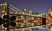 Illuminated Tapestries Textiles Metal Prints - Brooklyn Bridge At Night Metal Print by Sean Pavone