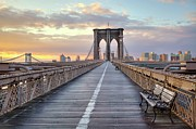 Bench Photo Metal Prints - Brooklyn Bridge At Sunrise Metal Print by Anne Strickland Fine Art Photography