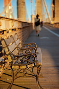 Brooklyn Bridge Posters - Brooklyn Bridge Bench Poster by Brian Jannsen