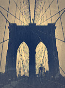 World Cities Digital Art Metal Prints - Brooklyn Bridge Blue Metal Print by Irina  March