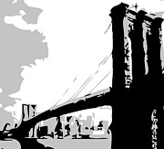 True Melting Pot Digital Art Posters - Brooklyn Bridge BW Poster by Scott Kelley