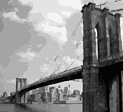 True Melting Pot Digital Art Posters - Brooklyn Bridge BW16 Poster by Scott Kelley