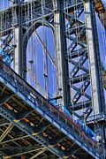 New York City Framed Prints - Brooklyn Bridge close-up Framed Print by David Smith