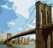 True Melting Pot Digital Art Posters - Brooklyn Bridge Color 16 Poster by Scott Kelley