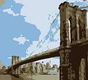 True Melting Pot Digital Art Posters - Brooklyn Bridge Color 6 Poster by Scott Kelley