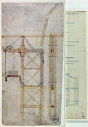 Late Drawings Posters - Brooklyn Bridge Diagram Poster by Granger