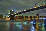 City Skyline Prints - Brooklyn Bridge Print by Evelina Kremsdorf