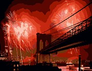The Capital Of The World Digital Art Posters - Brooklyn Bridge Fireworks Color 16 Poster by Scott Kelley