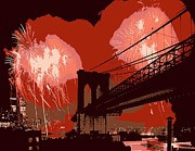 The Capital Of The World Digital Art Posters - Brooklyn Bridge Fireworks Color 6 Poster by Scott Kelley