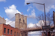 New York City Skyscapers Framed Prints - Brooklyn Bridge from Doughty Street Framed Print by Frank Winters