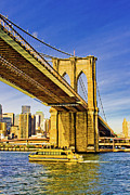 Water Taxi Framed Prints - Brooklyn Bridge III Framed Print by David Hahn