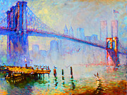 Brooklyn Bridge Painting Posters - Brooklyn Bridge in a Foggy Morning Poster by Ylli Haruni
