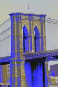 Brooklyn Bridge Posters - Brooklyn Bridge in Blue Poster by Christopher Kirby