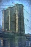 Brooklyn Bridge Prints - Brooklyn Bridge in Blue Print by Sophie Vigneault
