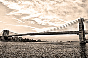 Broadway Digital Art Metal Prints - Brooklyn Bridge in Sepia Metal Print by Bill Cannon