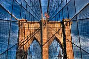 Brooklyn Bridge Posters - Brooklyn Bridge In The Golden Light Poster by Val Black Russian Tourchin
