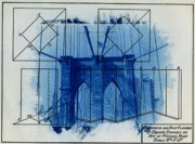 Blueprint Photo Prints - Brooklyn Bridge Print by Jane Linders
