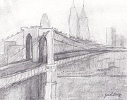Cityscape Drawings - Brooklyn Bridge by Janel Bragg