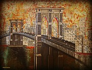 Brooklyn Bridge Mixed Media Framed Prints - Brooklyn Bridge ll Framed Print by Barbie Guitard