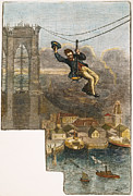 1876 Framed Prints - Brooklyn Bridge Mechanic Framed Print by Granger