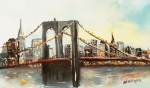 Brooklyn Bridge Painting Prints - Brooklyn Bridge  Print by Miroslaw  Chelchowski