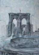 Brooklyn Bridge Painting Posters - Brooklyn Bridge Poster by Natia Tsiklauri