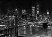 Landscapes Drawings - Brooklyn Bridge New York by David Rives