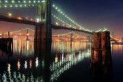 Brooklyn Bridge Posters - Brooklyn Bridge Night Poster by Mike Lindwasser Photography