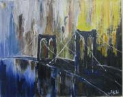 Brooklyn Bridge Painting Originals - Brooklyn Bridge NY by Aisha Khan