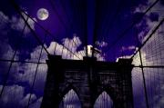 Night Scenes Posters - Brooklyn Bridge of the Night Poster by Emily Stauring