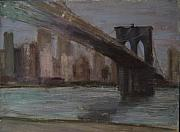 Brooklyn Bridge Painting Prints - Brooklyn Bridge Painting Print by Gail Eisenfeld