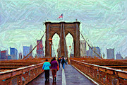 Colored Pencil Digital Art Framed Prints - Brooklyn Bridge Pedestrians Framed Print by Randy Aveille