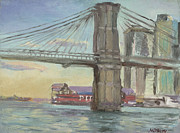 Brooklyn Bridge Painting Prints - Brooklyn Bridge Pier 16 Print by Walter Mosley
