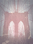 World Cities Digital Art Metal Prints - Brooklyn Bridge Red Metal Print by Irina  March